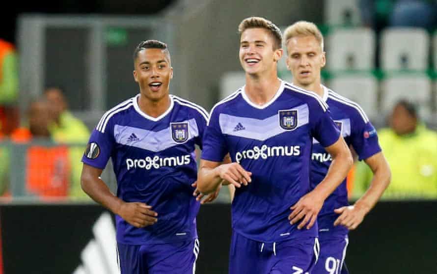 Anderlecht's Youri Tielemans and Leander Dendoncker celebrate after scoring against St Etienne in the UEFA Europa League