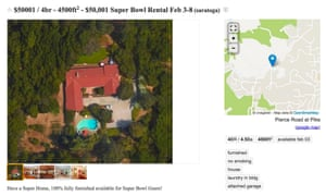 The five-acre estate listed on Craigslist for $50,001 for the week of the Super Bowl.