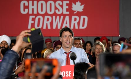 Canada's prime minister, Justin Trudeau, makes an election campaign stop in Surrey, British Columbia, on 24 September.