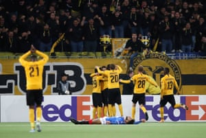 Young Boys' Christian Fassnacht celebrates scoring their second goal with teammates.