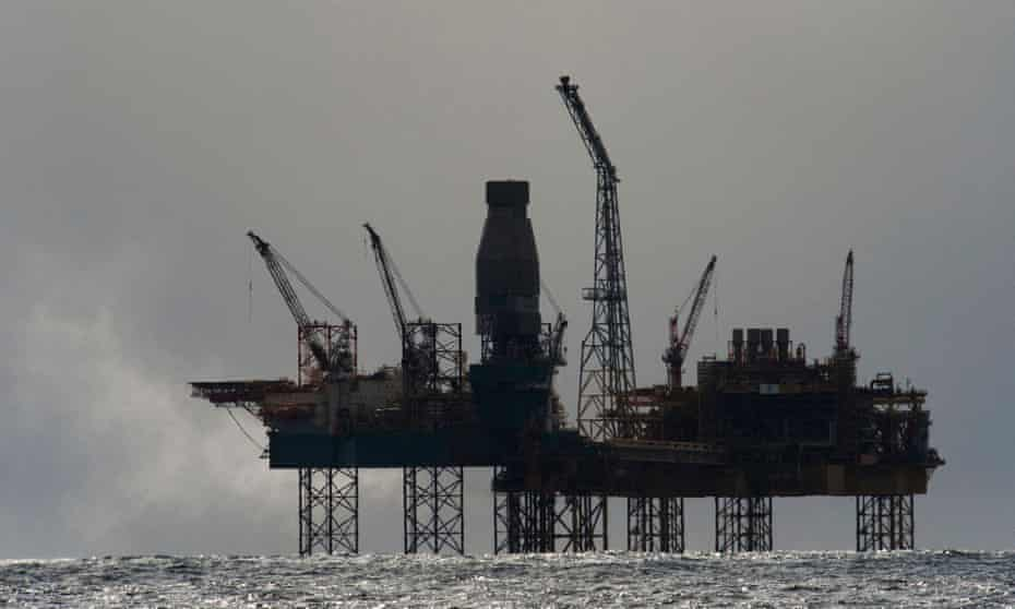 An oil rig in the North Sea.