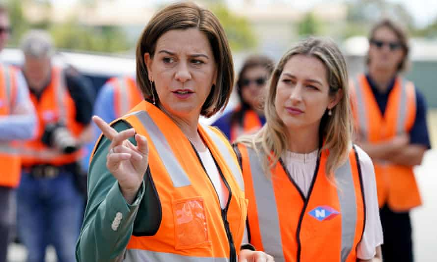 The LNP leader, Deb Frecklington, and the MP for Currumbin, Laura Gerber, tour Neumann Steel Fabrication on the Gold Coast
