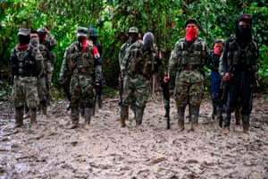 The troops line up in the jungle