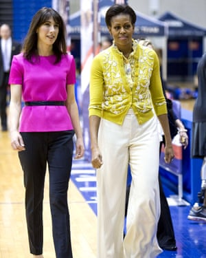 Michelle Obama with Samantha Cameron at a youth event at the American University, Washington DC, 13 March 2012.