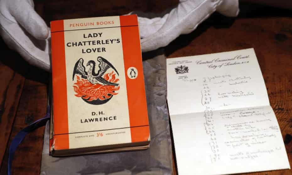 The trial judge's personal version of Lady Chatterley's Lover, on view in Sotheby's auction house in London.