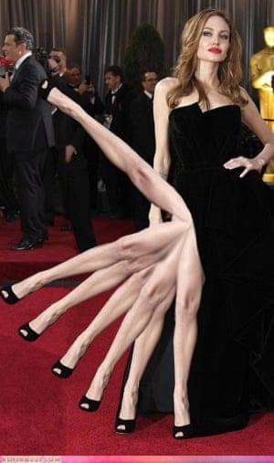 An Angelina Jolie leg meme.