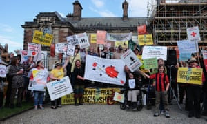 Anti-fracking protesters in the grounds of the County Hall building in Northallerton.