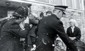 Michael Heseltine is pelted with eggs and rotten fruit. A tomato struck the environment secretary in the face and his suit was splattered with egg yolk. The missiles were delivered by a band of children and parents, angry at Heseltine's failure to prevent the closure of Croxteth comprehensive school.