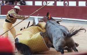 Madrid, SpainA 'rejoneador' is tossed by the bull during the Feria de San Isidro at the Monumental de Las Ventas bullring