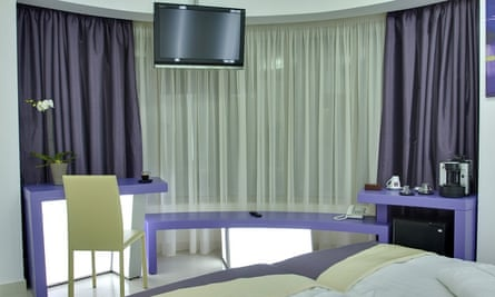 Lilac room in Hotel Christina, Bucharest, Romania