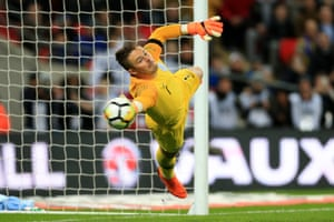England goalkeeper Jack Butland dives but fails to save Italy's late penalty equaliser during the international friendly match between England and Italy at Wembley Stadium on March 27, 2018 in London, England. (Photo by Simon Stacpoole/Offside/Getty Images)