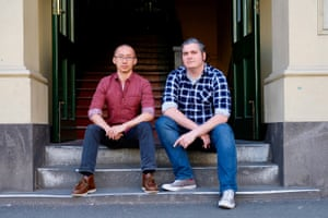 Sam Jiayi Liu and Matt Kunkel at the Australian-first Migrant Workers Centre, which opens in Melbourne in August.