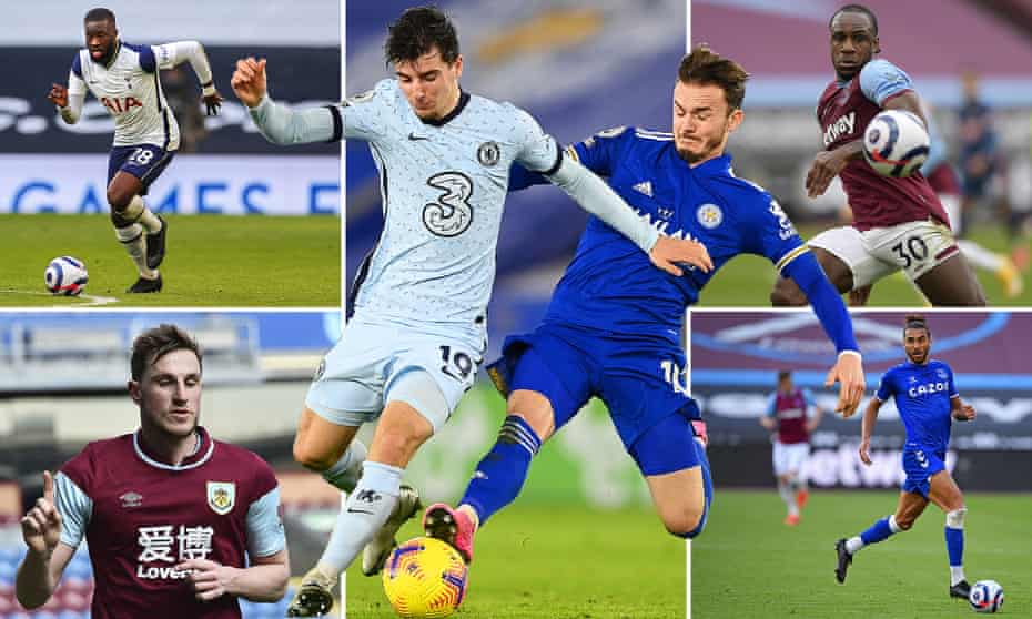 Clockwise from top left; Tanguy Ndombele of Tottenham Hotspur, Chelsea's Mason Mount with James Maddison of Leicester City, Michail Antonio of West Ham, Dominic Calvert-Lewin of Everton and Burnley's Chris Wood.