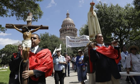 Protesters backing the Texas 'bathroom bill' rally outside the state capitol on Tuesday.