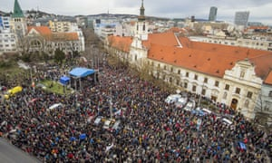 People attend the rally in Bratislava on Thursday.