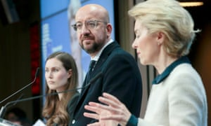Finnish prime minister Sanna Marin, European council president Charles Michel and European commmission president Ursula von der Leyen