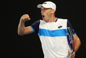 John Millman reacts during his match against Roger Federer.