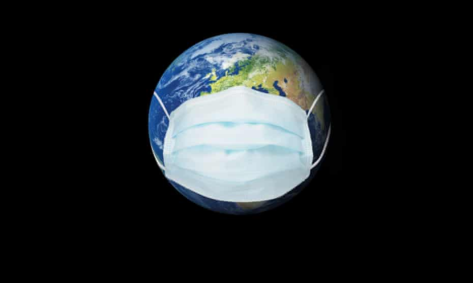 planet earth wearing a protective face mask