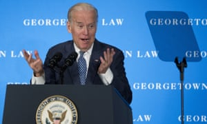 In March Biden seemed to accidentally let it slip he was running for president, saying at a dinner for the Delaware Democratic party that he has 'the most progressive record of anybody running'.