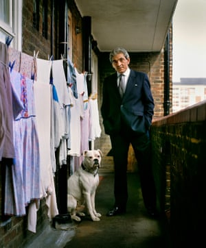 Tony Lambrianou, enforcer for the Krays with his dog outside his mum's flat in the Elephant & Castle where he was staying in 1983 after his release from 15 years in prison