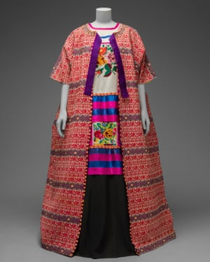 Guatemalan cotton coat worn with Mazatec huipil and plain floor-length skirt from the V&A exhibition