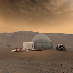 An Artistic Illustration of NASA's Mars Ice Home Concept: Mars researchers will need shelters to effectively protect them from the harsh environment of Mars and a safe place to create for their homeland.
