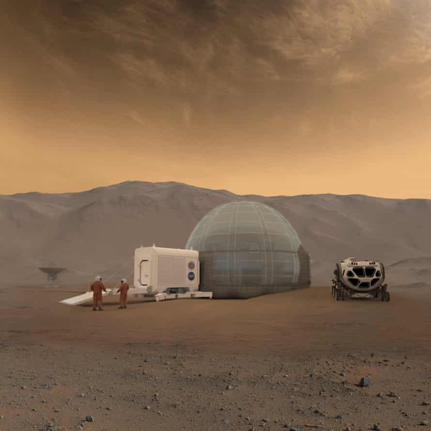An artist's rendering of Nasa's Mars Ice Home concept: Mars explorers will need shelters to effectively protect them from the harsh Martian environment and provide a safe place to call home.