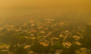 Neighborhoods shrouded in smoke as the Bobcat fire advances toward foothill cities on 13 September 2020 in Monrovia, California.