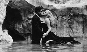 Dreamlike … Marcello Mastroianni and Anita Ekberg in the Trevi fountain.