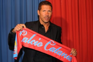 Diego Simeone was unveiled as Catania manager in January 2011.
