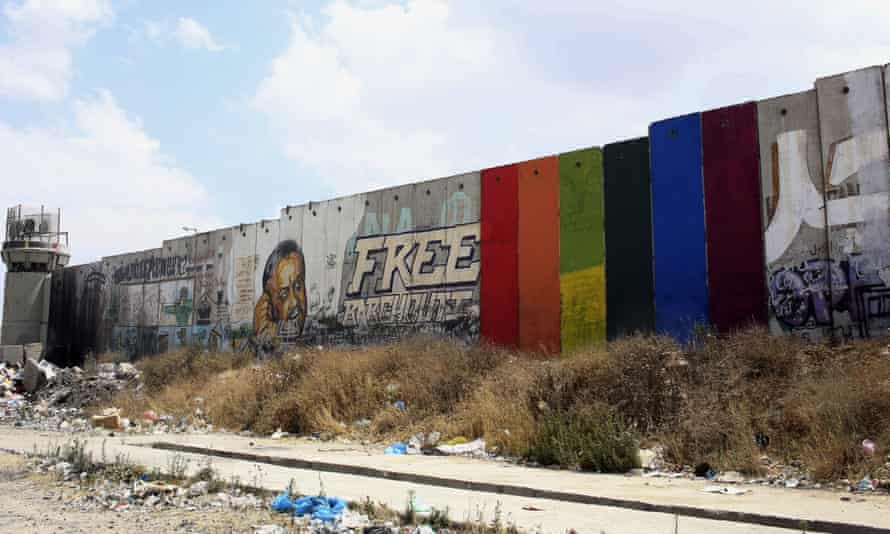 Rainbow flag section of the West Bank barrier