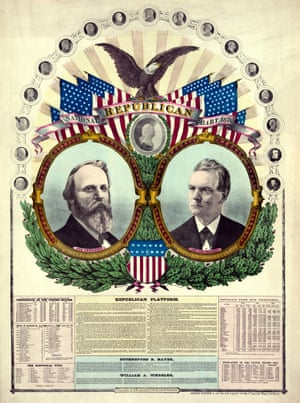 National Republican chart from 1876 featuring Rutherford Hayes for president and William Wheeler for vice-president.