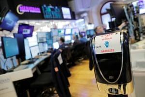 Hand sanitizer as is seen on the floor of the New York Stock Exchange (NYSE) today