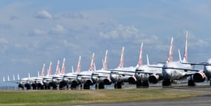 Grounded Virgin Australia aircraft parked at the Brisbane airport following the pandemic-induced collapse of air travel.