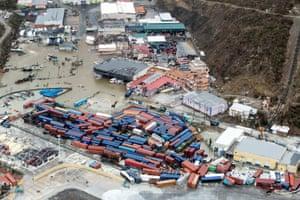 A damaged port area on Saint Martin island
