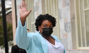 US politician and voting rights activist Stacey Abrams arrives to meet with US President Joe Biden at Emory University in Atlanta, Georgia.
