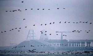 The Crimean bridge across the Kerch strait.