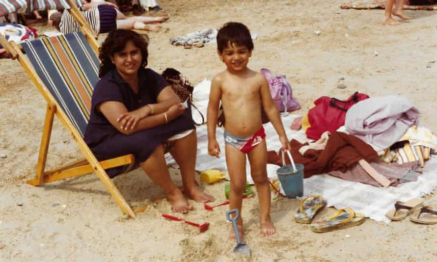 Nikesh Shukla with his mother in 1988.