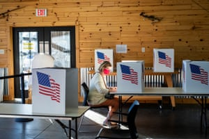 Cindy Spellberg casts her vote on election day in Granger, Iowa.