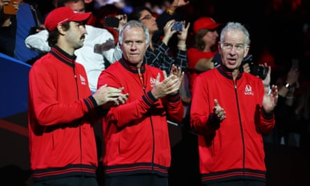 Patrick McEnroe (center) alongside his brother John at the 2019 Laver Cup