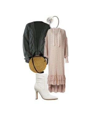 Dress it up Helen Seamons, menswear fashion editor 'Slouchy knits make dresses cosy.' Dress, £229, allsaints.com. Bag, £125, Munn at matchesfashion.com. Boots, £75, asos.com. Cardigan, £210, theknottyones.com. Ring, £249, klgjewellery.com