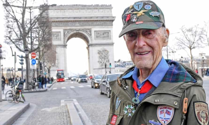 Stephen Weiss at the Arc de Triomphe in Paris in February, when he took part in a ceremony to honour veterans of the US Office of Strategic Services.