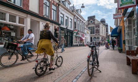 Cyclists in Groningen in the Netherlands.