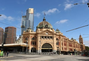 Flinders Street Station and surrounding streets are almost devoid of people.