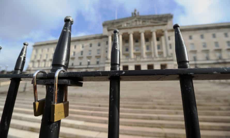 Locked gates at Stormont in Belfast