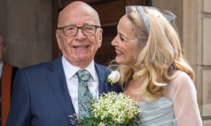 Rupert Murdoch and Jerry Hall at St Bride's church
