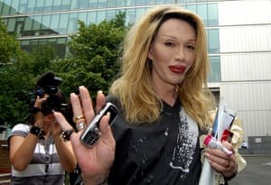 July 2006 Pete Burns arrives at court, where he faces charges to harrassment to his ex-lover Jason Peters at Southwark Crown Court, London