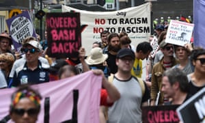 Campaign Against Racism and Fascism and No Room for Racism demonstrate to counter Trump supporters congregating in Melbourne.