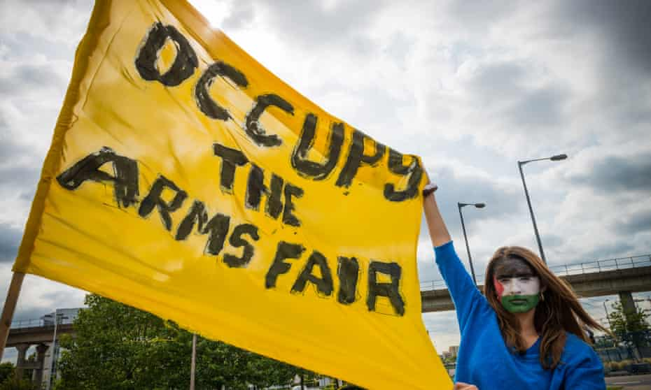Anti-arms trade activists protest outside the last DSEI event in September 2015.