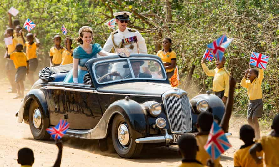 claire foy and matt smith playing the queen and prince philip on tour in africa in the crown